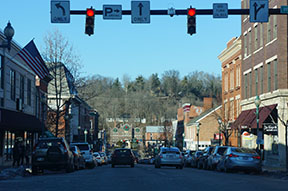 Count road up town Athens, Ohio.