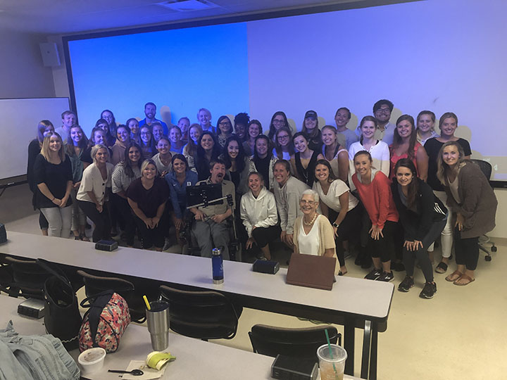 Noah with the students of University of Cincinnati, AAC class of 2019 with Dr. Sandi Grether.